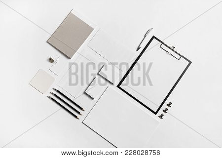 Photo Of Blank Stationery Set On Paper Background. Corporate Identity Mock Up For Placing Your Desig