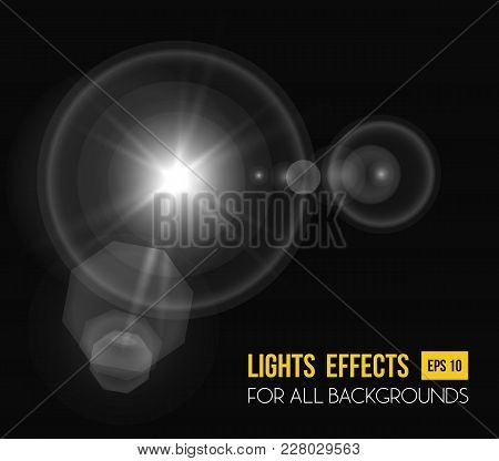 Sunbeam Shining Through Lens, Sun Light Effect. Abstract Sunlight Radiance Of Beam Light Effect Back