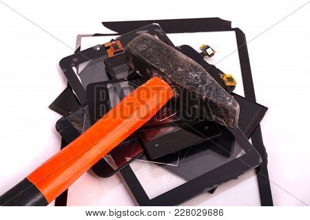 Broken Touchscreens Lie A Bunch Of Them On A Hammer. Service For Gadget Repair. Concept. Isolated On