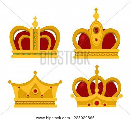 Set Of Emperor Or King Shiny Golden Crown Or Pope Tiara. Monarch Heraldic Sign Or Vintage Blinking D