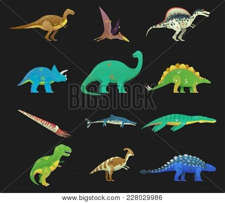 Set Of Isolated Cartoon Dinosaur Or Dino. T Rex Or T-rex, Tyrannosaurus Rex And Stegosaurus, Brachio