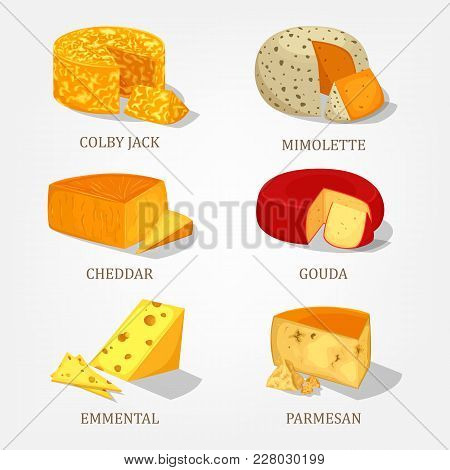 Cheddar And Gouda Cheese Food Isolated Icons. French Parmesan And Colby Jack, Swiss Emmental Piece A