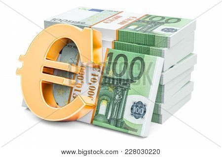 Euro Packs With Golden Euro Symbol, 3d Rendering Isolated On White Background