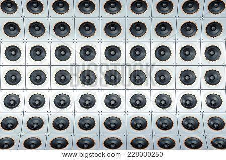 Background, Backdrop From Steel Loudspeakers, 3d Rendering