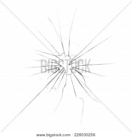 Cracked Or Broken, Shattered Glass Or Mirror. Broke Or Broken Glassware Abstract Background, Damaged