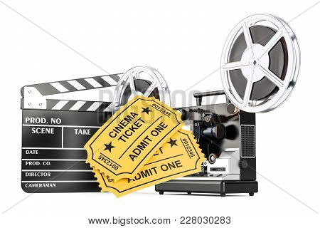 Cinematography, Film Industry Concept. 3d Rendering Isolated On White Background