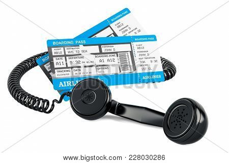 Air Tickets Booking Concept, 3d Rendering Isolated On White Background