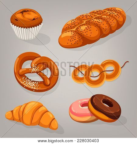 Isolated Bakery Bread Food. Kifli Or Kringle, French Croissant And Dough Or Donut, Doughnut And Pret