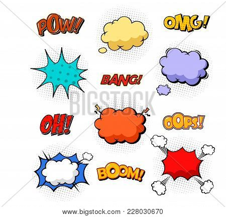Oops And Boom, Bang And Boom Comic Bubble Speeches. Excuse Replica And Cloud Of Dust, Explosion Soun