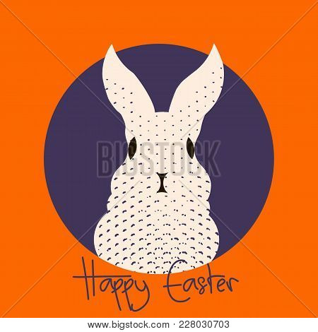 Stylish Easter Greeting Card With Text Happy Easter And Cute Bunny Rabbit Looking From The Hole, Ora