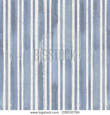 Vintage Blue Stripe Background. Old Aged Paper With Watercolor Hand Drawn Stripe Pattern. Vertical W