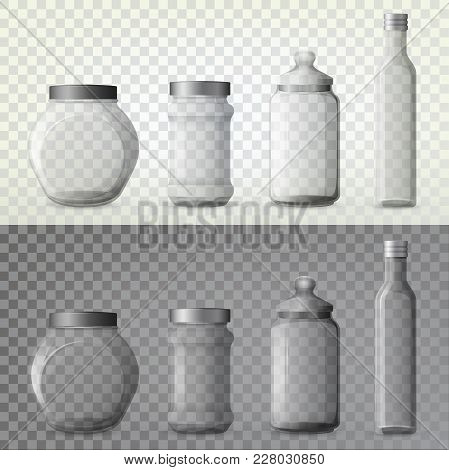 Set Of Isolated Glassware Bottles For Spicy Cooking Ingredient. Jar With Spice Or Container For Seas