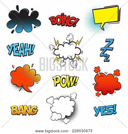 Bubble Comic Speeches For Explanation. Onomatopoeia Cartoon Sounds Explosion Bang And Fighting Punch