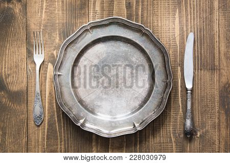 Table Setting With Vintage Plate On Wooden Board. Rustic Stile. Romantic Dinner. Top View.