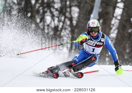 Zagreb, Croatia - January 4, 2018 : Gross Stefano Of Ita Competes During The Audi Fis Alpine Ski Wor