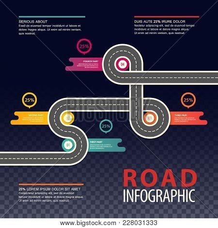 Road Map Infographics With Round Charts And Section Or Parts Timings. Top View On Car Asphalt Highwa