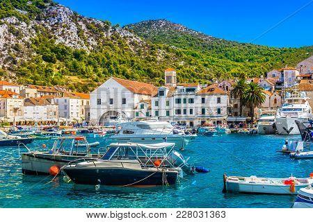 Seafront View At Mediterranean Summer Scenery In Famous Luxury Tourist Resort, Island Hvar Croatia.