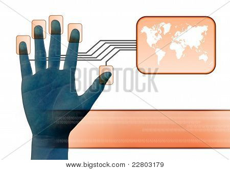 businessman scanning of a finger on a touch screen interface