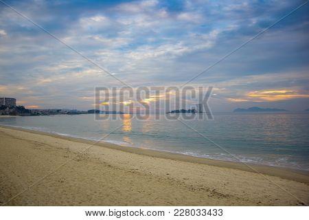Colorful Sunset Above Samil Beach, Vigo, Galicia, Spain