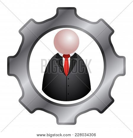Gear Piece With A Businessman Icon. Vector Illustration Design