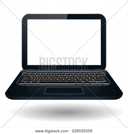 Realistic 3d Laptop With Blank Screen To Present Your Application Design. Vector - Stock