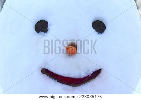 Snowman Face Close Up. Snowman Smile. Muzzle Of Snovman. New Year Attribute. Christmas Snowman Face.