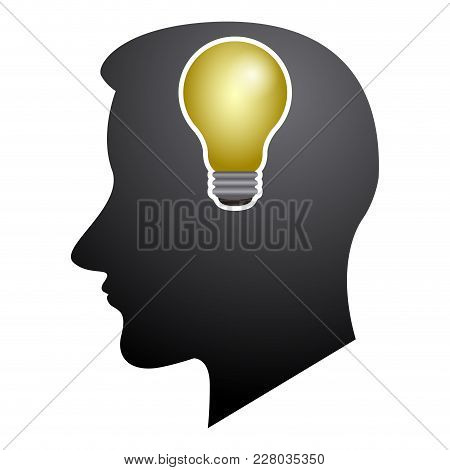 Head Silhouette With A Lightbulb Icon. Vector Illustration Design