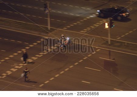 29 September 2015, Minsk Belarus. A Motorcyclist Performs A Trick - A Willy On A Motorcycle, Driving