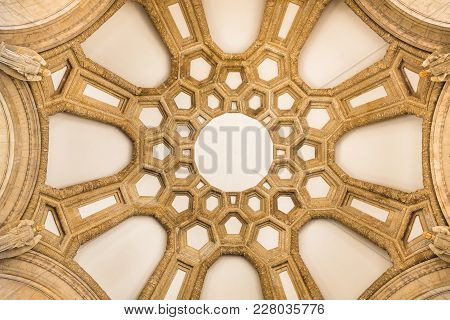 San Francisco, Usa - April 2017: Dome Ceiling Of The Palace Of Fine Arts - San Francisco. Patterns I