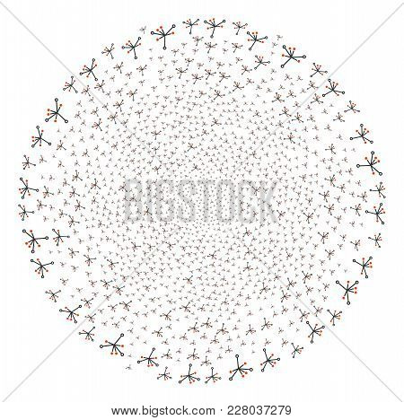 Big Bang Twirl Spheric Cluster. Object Cyclone Created From Scattered Big Bang Symbols. Vector Illus