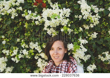 Portrait Of Young Attractive Beautiful Cutie Brunette Woman Standing In Summer Warm Sunny Day In Gre