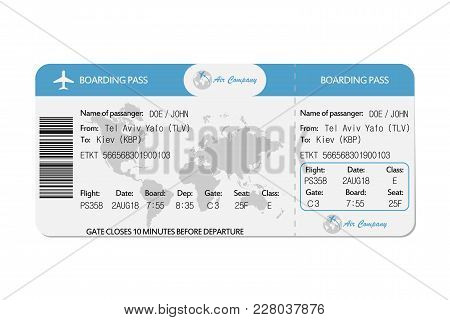 Airline Boarding Pass Or Airplane Ticket. Vector Illustration.