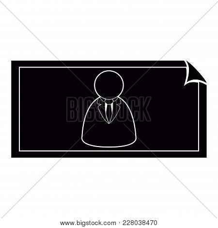 Money Bill With A Businessman Watermark Icon. Vector Illustration Design