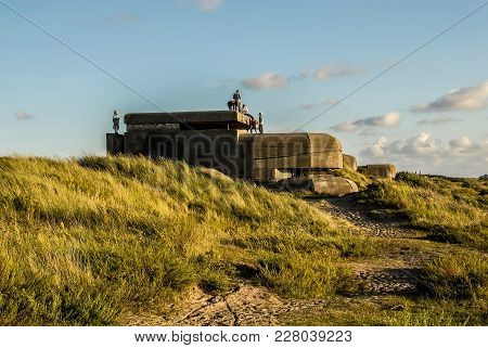 Six Teenagers Explore A German Bunker, Built At The Time Of Second World War, Located In The Dunes N