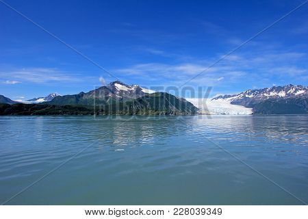 Glacial Flow In Kenai Fjords, Aialik Glacier What Is Part Of The Huge Harding Ice Field, Alaska, Usa