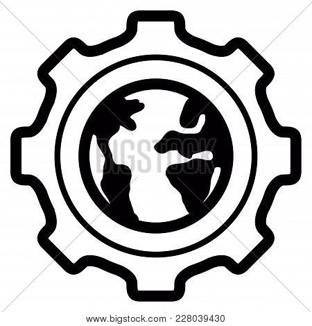 Gear Piece With Our Planet Earth. Vector Illustration Design