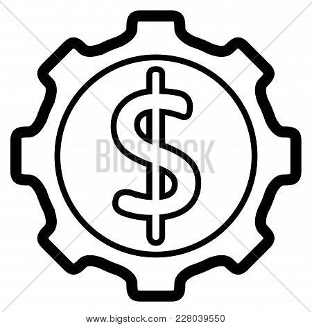 Gear Piece With A Money Bag Icon. Vector Illustration Design