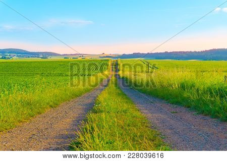 Road In The Middle Of A Field Of Green