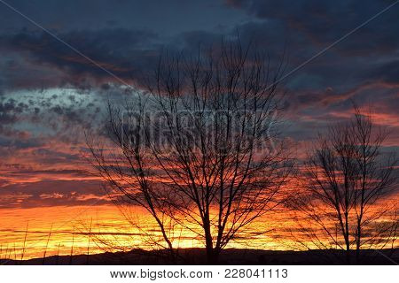 Bright And Colorful Winter Sunset In Idaho.