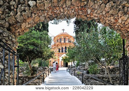 Greece, Rhodes, East Coast, Kolymbia (kolimbia), Church Agios Nektarios With Epta Piges (seven Sourc