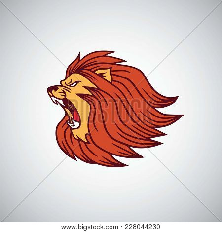 Wild Lion Angry Roaring Head Icon Vector Design, Illusration Template