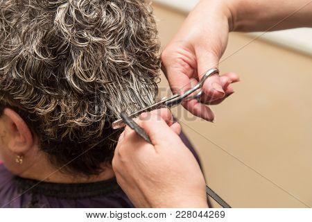 Female Hair Cutting Scissors In Beauty Salon .