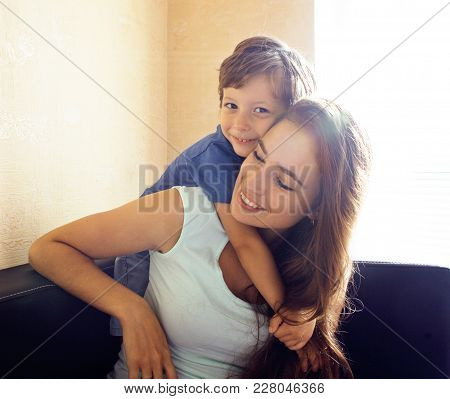 Mother With Son, Happy Family At Home Smiling Lifestyle