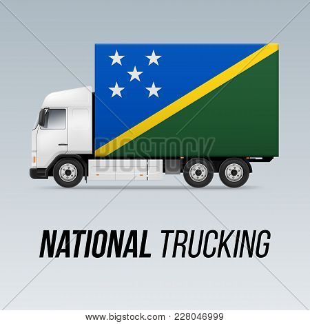 Symbol Of National Delivery Truck With Flag Of Solomon Islands. National Trucking Icon And Flag Desi