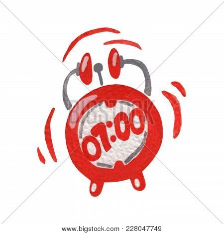 Watercolor Alarm Clock On A White Background. Watercolor Isolated Red Clock.