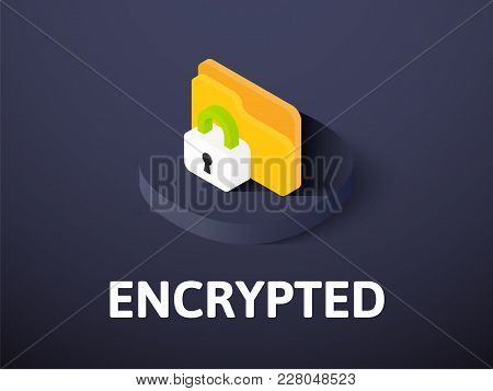 Encrypted Icon, Vector Symbol In Flat Isometric Style Isolated On Color Background