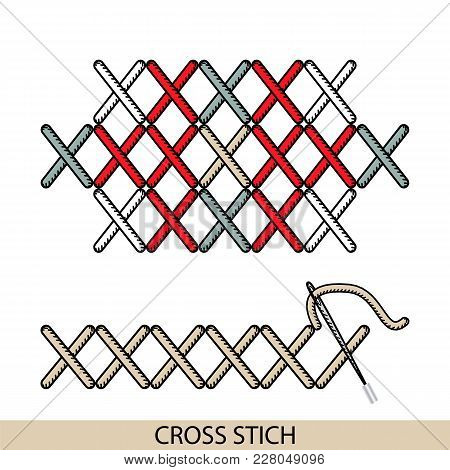 Stitches Blanket Stich Type Vector. Collection Of Thread Hand Embroidery And Sewing Stitches. Vector