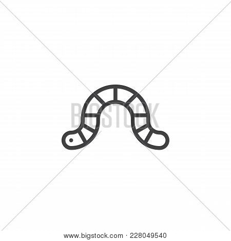 Worm Outline Icon. Linear Style Sign For Mobile Concept And Web Design. Earthworm Simple Line Vector