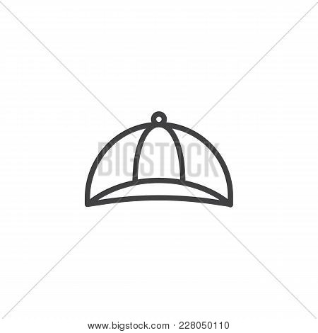 Baseball Cap Outline Icon. Linear Style Sign For Mobile Concept And Web Design. Cap Simple Line Vect