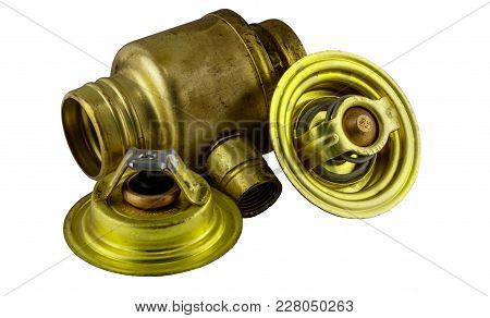 Antique Vintage American Automobile Brass Thermostat Assemblies On A White Background.